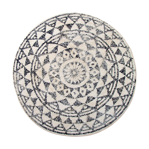 Round bath rug - black & white (D120cm)