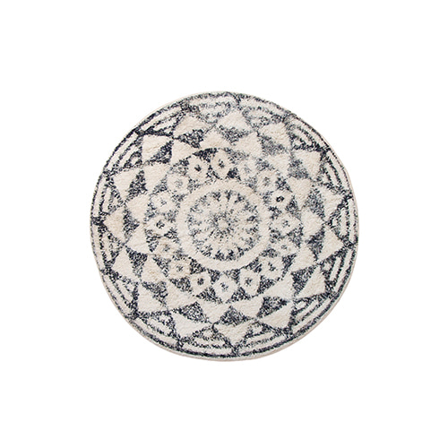 Round bath rug - black & white (D80cm)