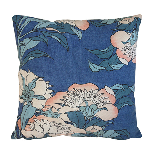 Japanese Floral cushion cover - blue (45x45cm)